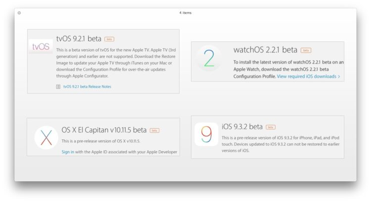 Beta 2 de iOS 9.3.2, OS X 10.11.5 , WatchOS 2.2.1, tvOS 9.2.1 disponible