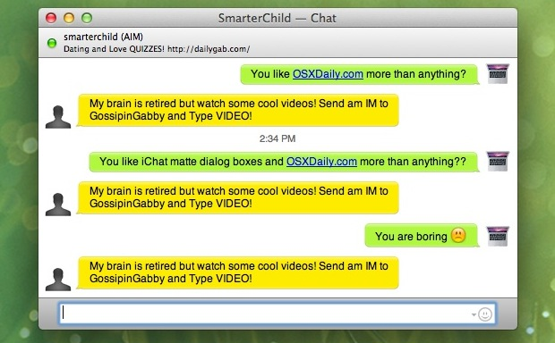 iChat Matte Mod pour OS X Lion supprime les blocs de texte à bulles brillantes d'iChat