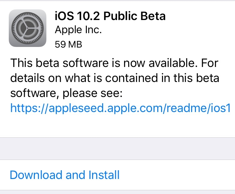iOS 10.2 Beta 7 mis à l'essai