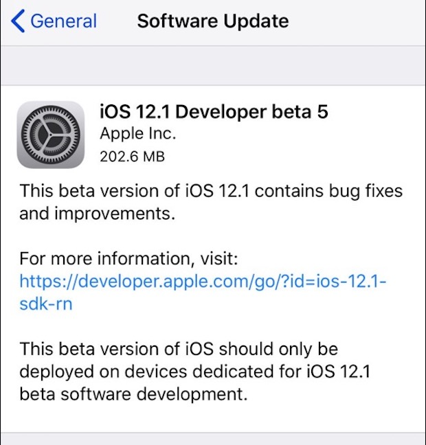 iOS 12.1 Beta 5 mis à l'essai