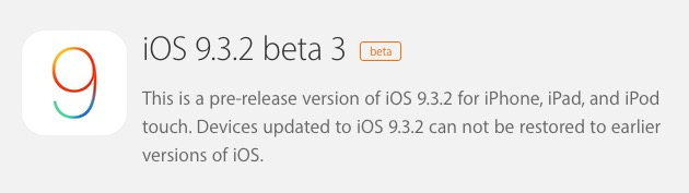 iOS 9.3.2 Beta 3 mis à l'essai
