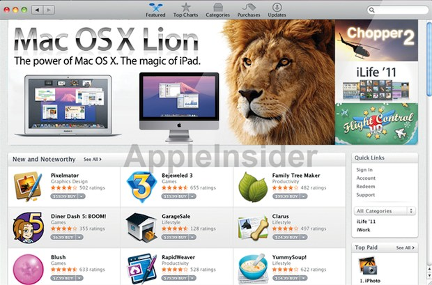Mac OS X 10.7 Lion sera distribué via l'App Store de Mac