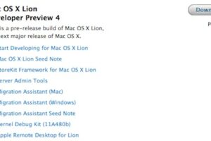 Mac OS X Lion Developer Preview 4 est maintenant disponible au téléchargement