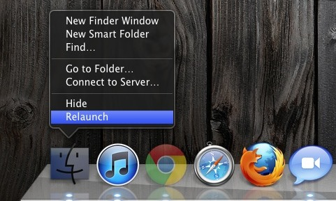 Relancez le Finder… à partir du Finder de Mac OS X