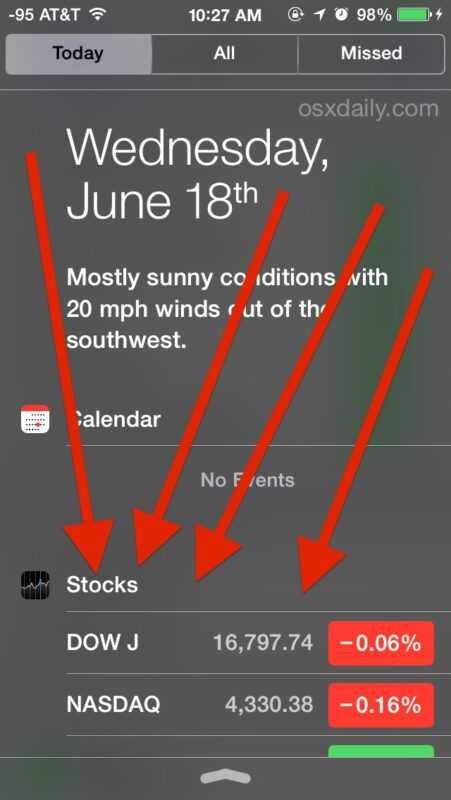 Comment retirer le widget Stock Ticker du centre de notification dans iOS