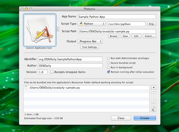 Transformer un script Python, Perl, Ruby ou Shell en une application autonome pour Mac OS X