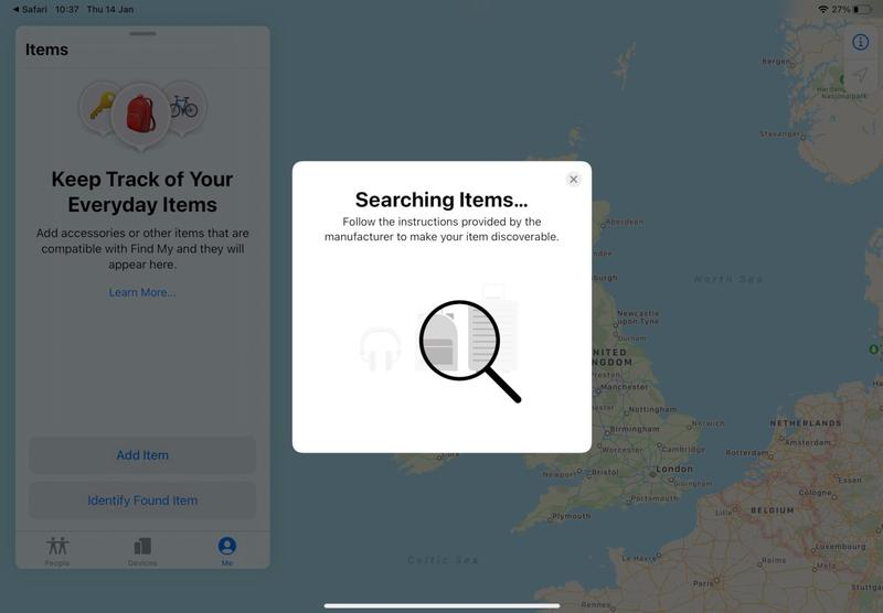 Onglet secret AirTags dans Find My