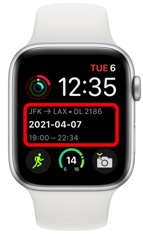 Complication App in the Air sur une Apple Watch